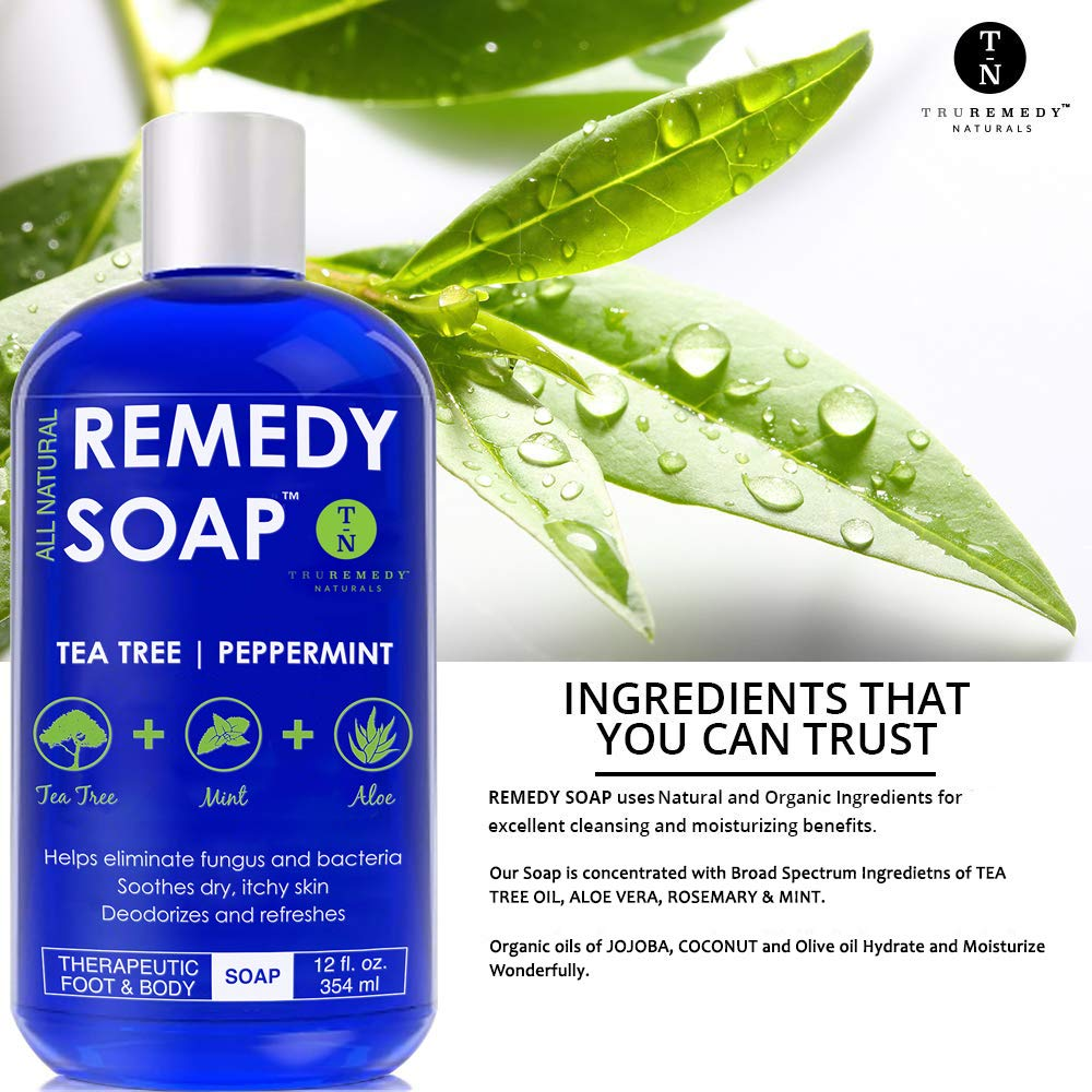 Remedy-Soap-Pack-of-2-Helps-Wash-Away-Body-Odor-Soothe-Athlete--s-Foot-Ringworm-Jock-Itch-Yeast-Infections-and-Skin-Irritations-100-Natural-with-Tea-Tree-Oil-Mint--Aloe-12-oz