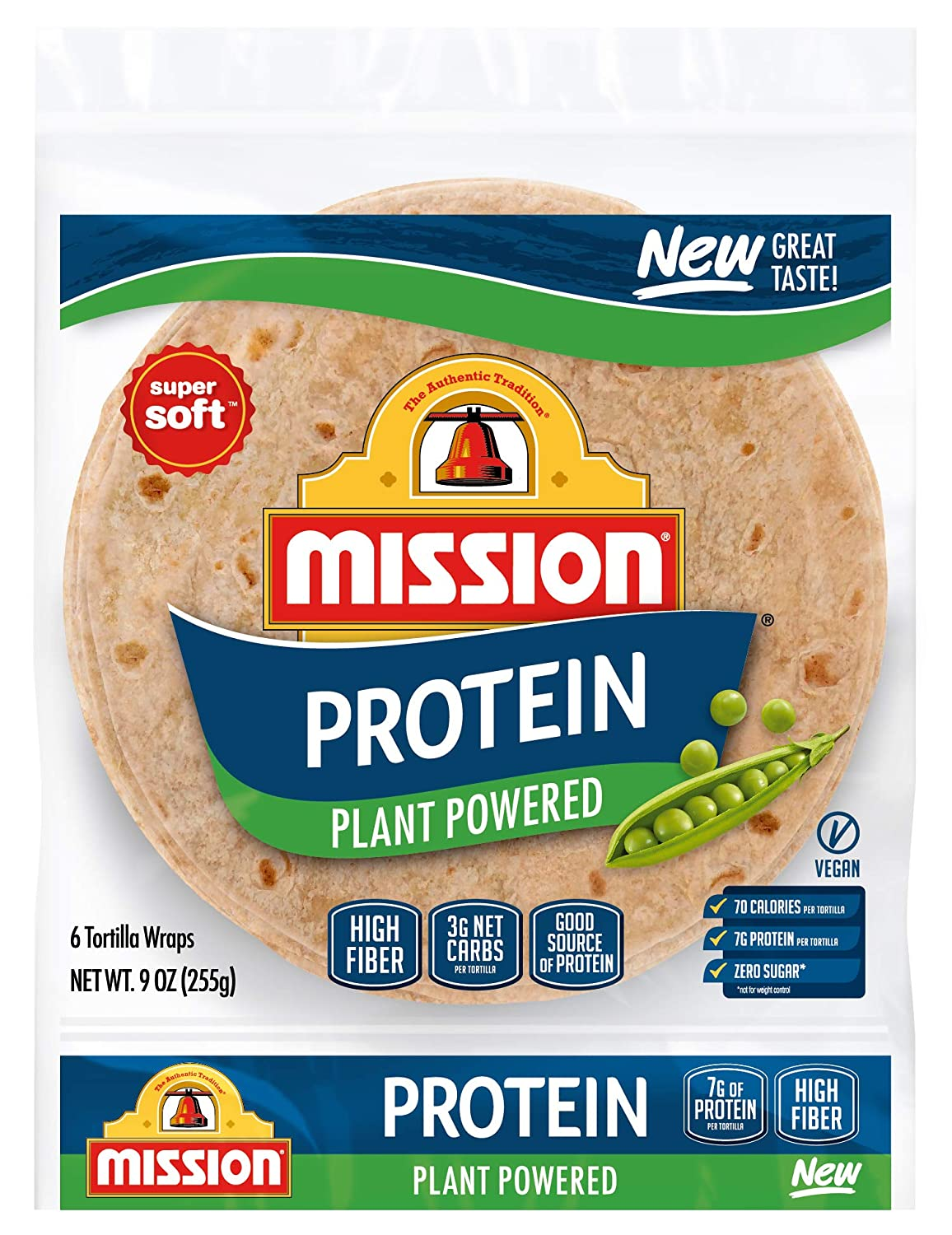 Mission, Vegan Protein Tortilla Wraps, 6 ct