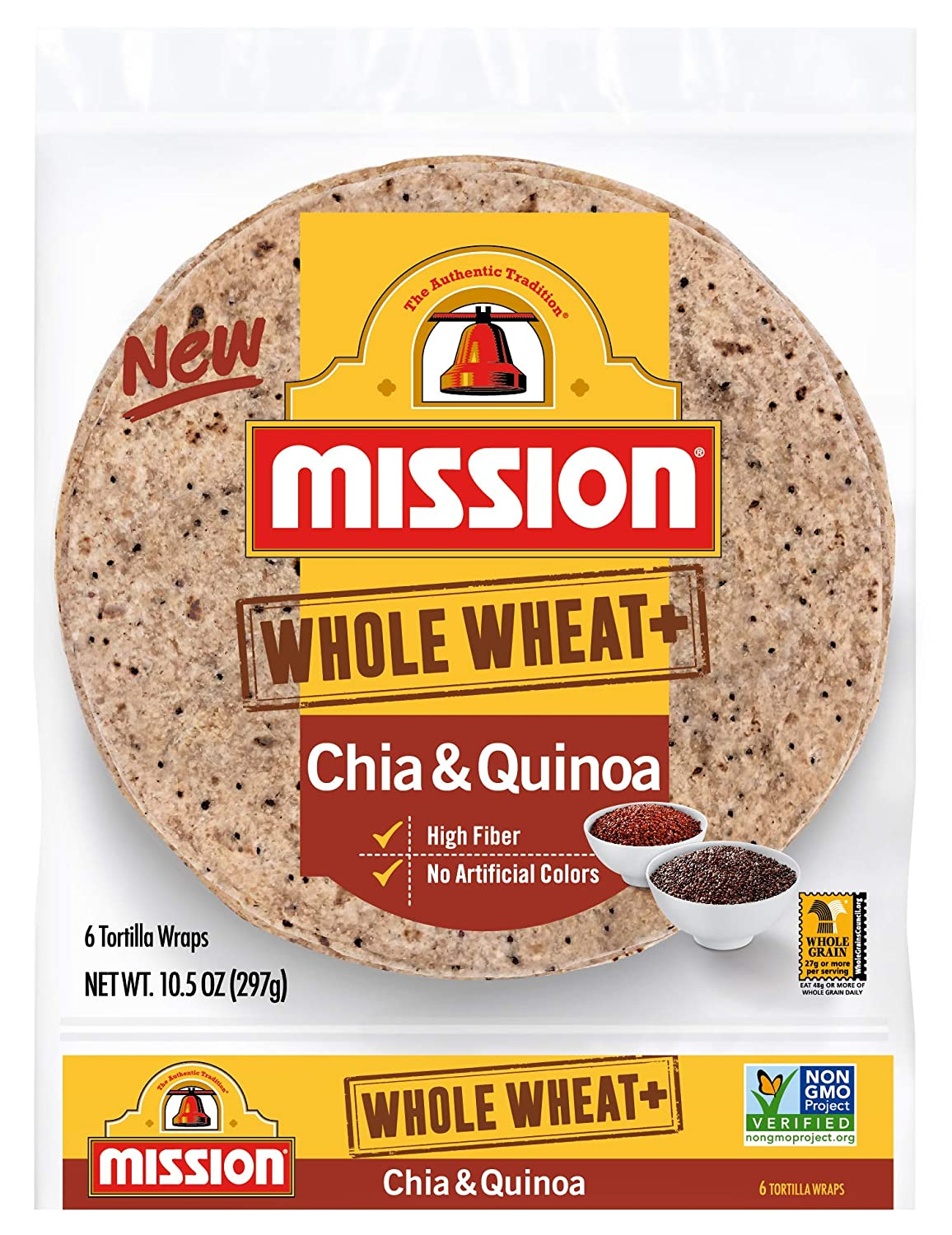 Mission, Whole Wheat + Chia and Quinoa Tortilla Wraps, 6 ct