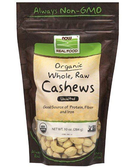 NOW Foods, Certified Organic Cashews, Whole, Raw and Unsalted, Rich Buttery Flavor, Source of Fiber, Protein and Iron, Certified Non-GMO, 10-Ounce